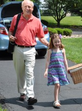 Man with Inogen Portable Oxygen Concentrator Walking with Grandaughter