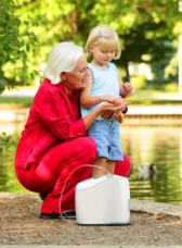 Woman with Inogen One G2 Portable Oxygen Concentrator