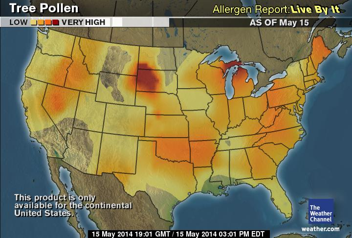 The Weather Channel Tree Pollen Map