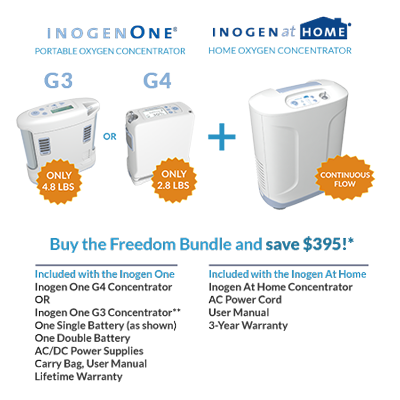 Freedom Bundle - Inogen One G3, G4, and At Home Oxygen Concentrator